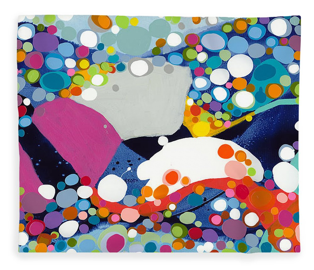 Abstract Fleece Blanket featuring the painting On The Up And Up by Claire Desjardins