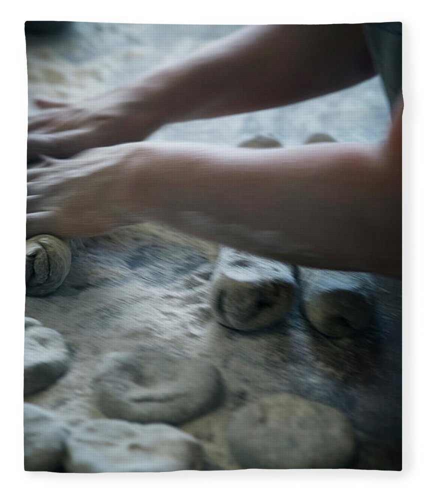 Working Fleece Blanket featuring the photograph One Person Baking Bread, Sweden by Koller, Lena