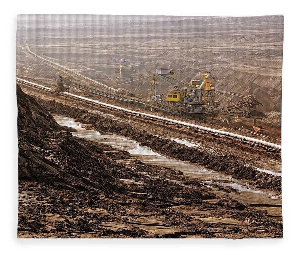 Air Pollution Fleece Blanket featuring the photograph Open Strip Coal Mine by Hsvrs