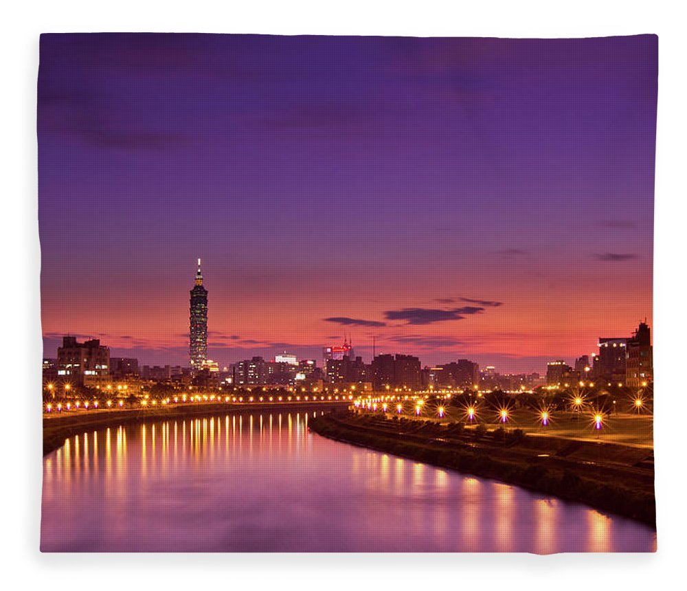 Orange Color Fleece Blanket featuring the photograph Orange Sunset by © Copyright 2011 Sharleen Chao