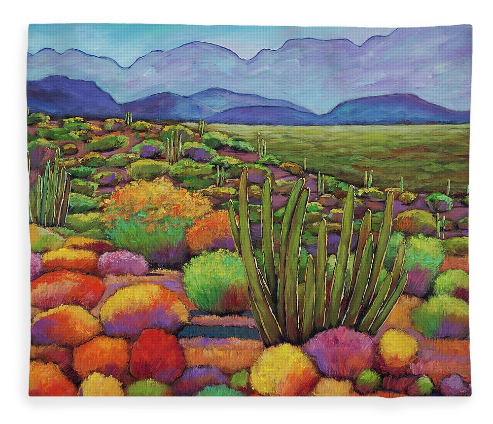 Desert Landscape Fleece Blanket featuring the painting Organ Pipe by Johnathan Harris