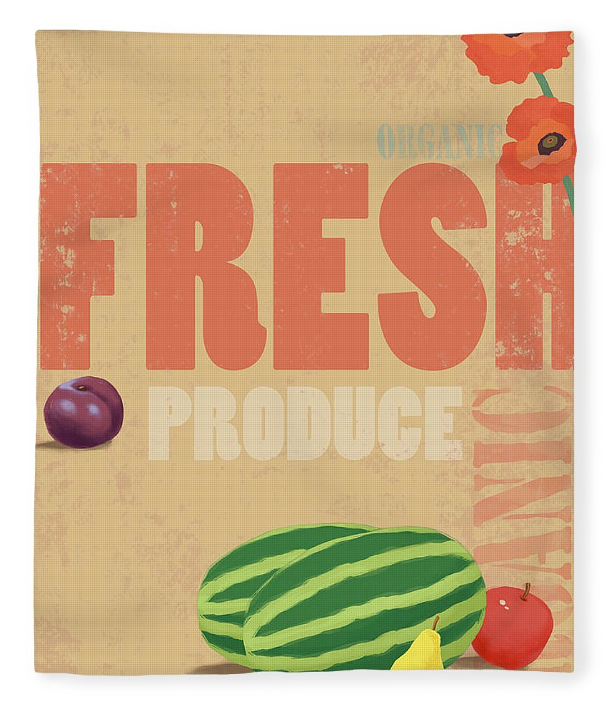 Part Of A Series Fleece Blanket featuring the digital art Organic Fresh Produce Poster by Don Bishop