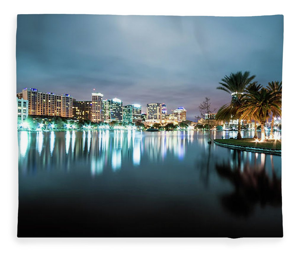 Outdoors Fleece Blanket featuring the photograph Orlando Night Cityscape by Sky Noir Photography By Bill Dickinson