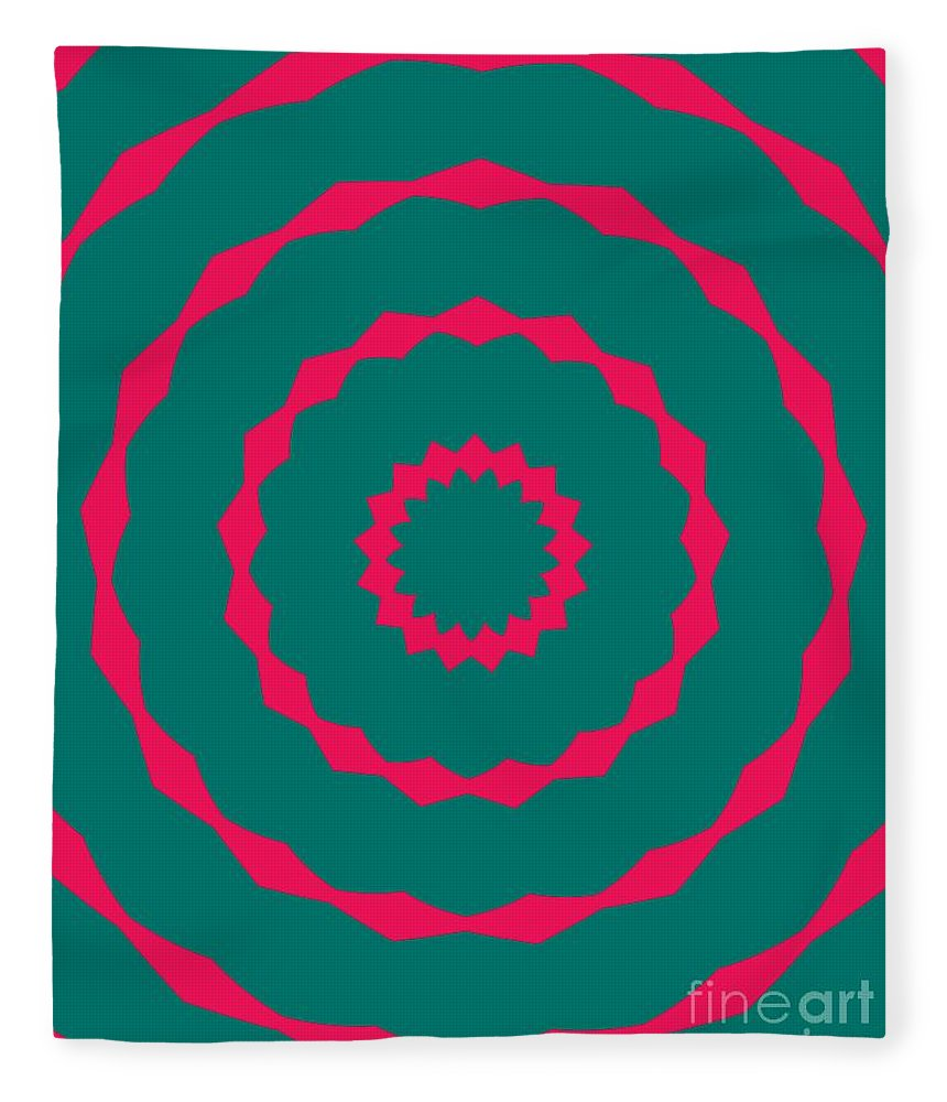 Round Fleece Blanket featuring the painting Ornament Number Five by Alex Caminker