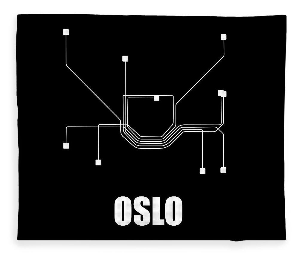 Oslo Fleece Blanket featuring the digital art Oslo Black Subway Map by Naxart Studio