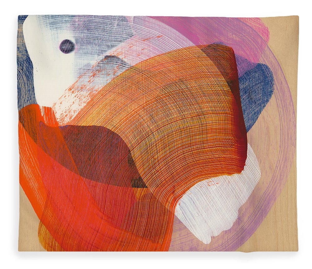 Abstract Fleece Blanket featuring the painting Out Of The Blue 01 by Claire Desjardins