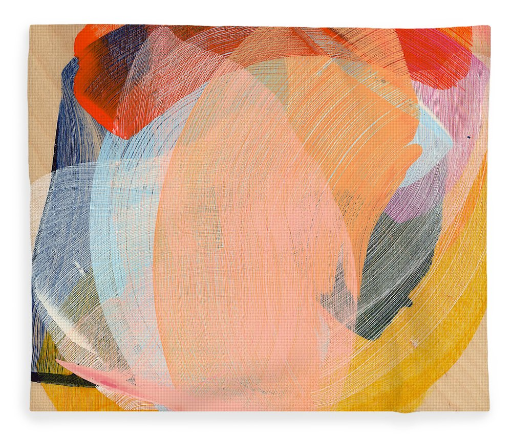 Abstract Fleece Blanket featuring the painting Out Of The Blue 02 by Claire Desjardins