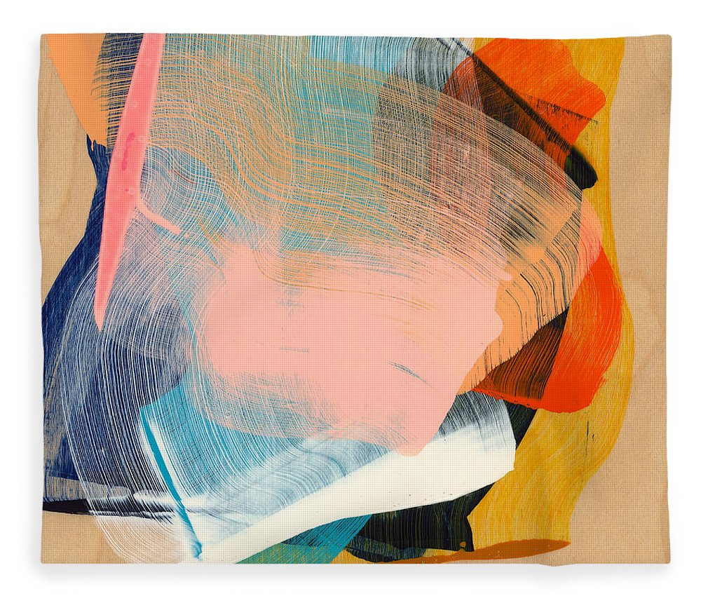 Abstract Fleece Blanket featuring the painting Out Of The Blue 06 by Claire Desjardins