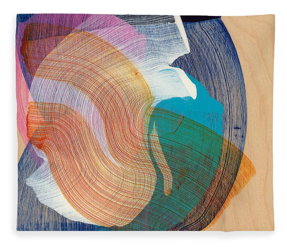 Abstract Fleece Blanket featuring the painting Out Of The Blue 07 by Claire Desjardins