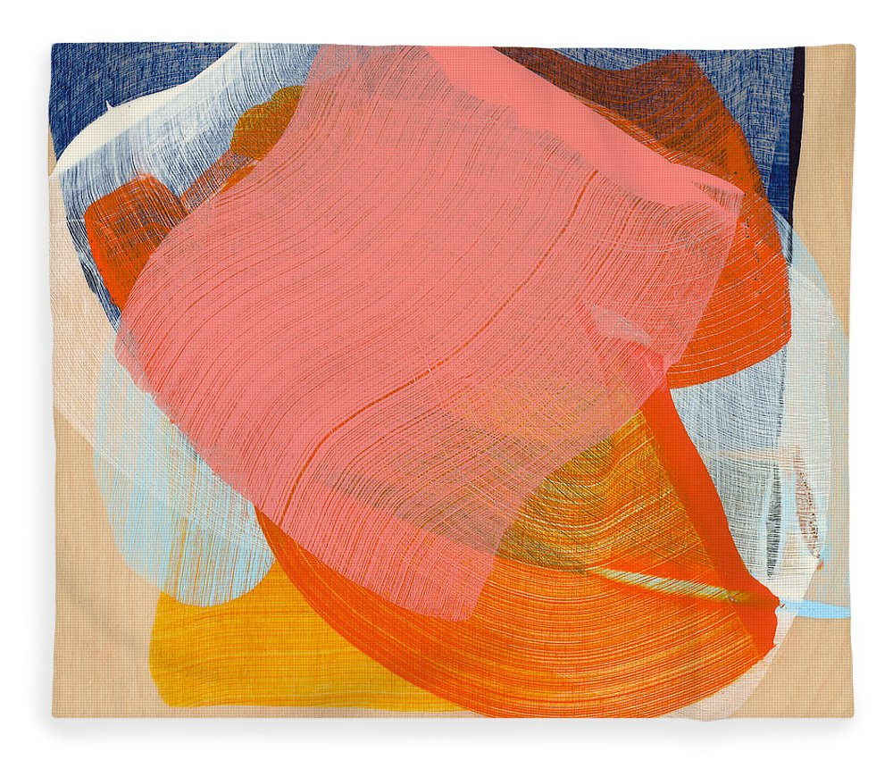 Abstract Fleece Blanket featuring the painting Out Of The Blue 10 by Claire Desjardins