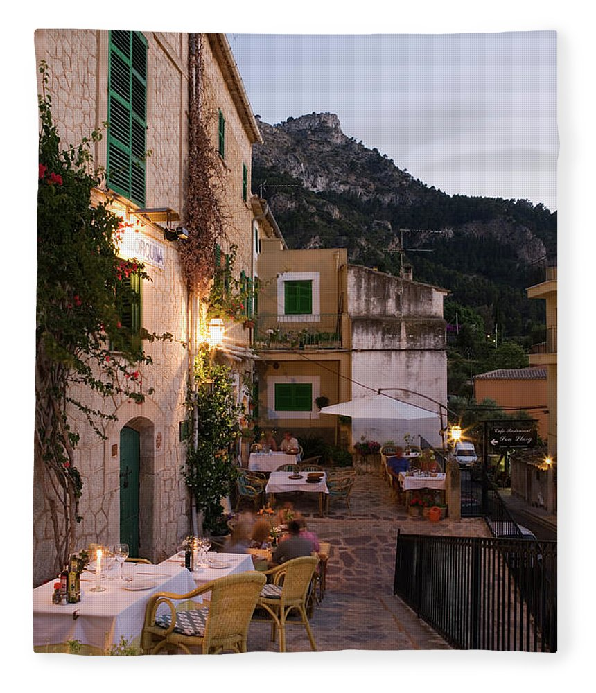 People Fleece Blanket featuring the photograph Outdoor Seating At Son Llarg Restaurant by Holger Leue