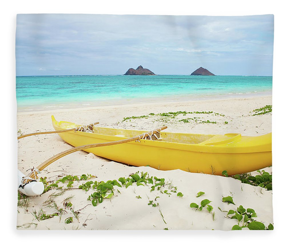Scenics Fleece Blanket featuring the photograph Outrigger Canoe Lanikai Beach by M Swiet Productions