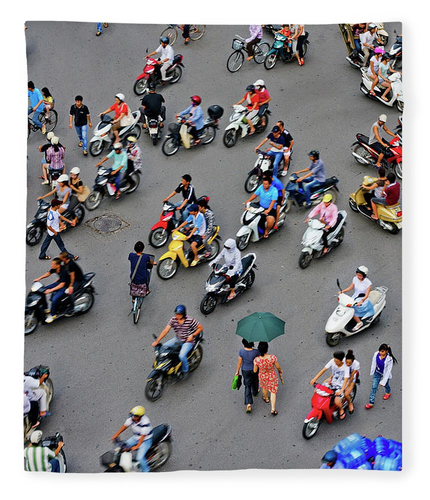 People Fleece Blanket featuring the photograph Overhead View Of Motorbike Traffic by Rwp Uk