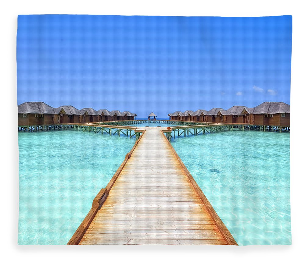 Beach Hut Fleece Blanket featuring the photograph Overwater Bungalows Boardwalk by Cinoby