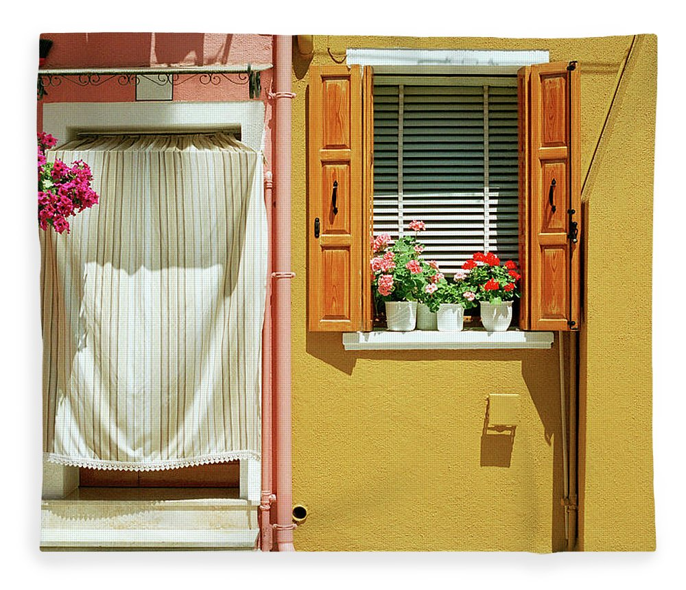 Hanging Fleece Blanket featuring the photograph Painted House In Burano by Terraxplorer