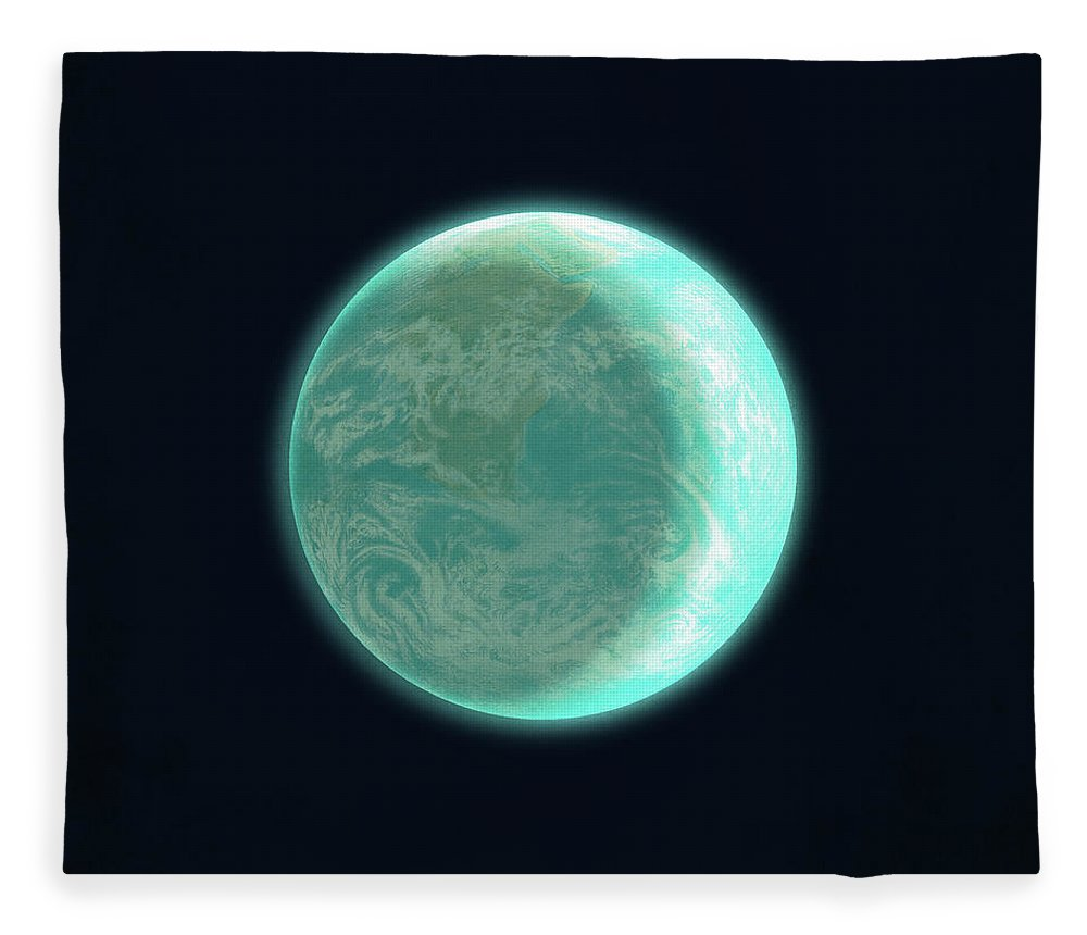 Space Fleece Blanket featuring the drawing Pale Blue Dot by Eric Fan