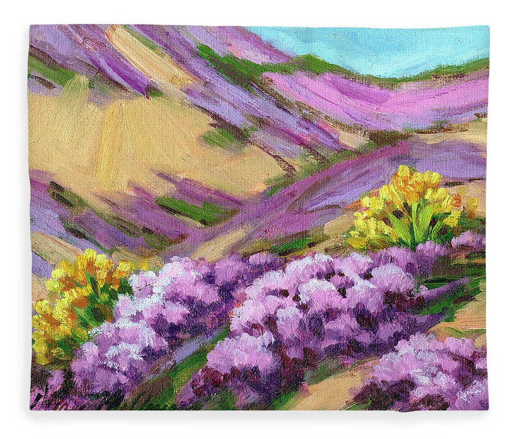 Palm Desert Fleece Blanket featuring the painting Palm Desert Spring by Diane McClary