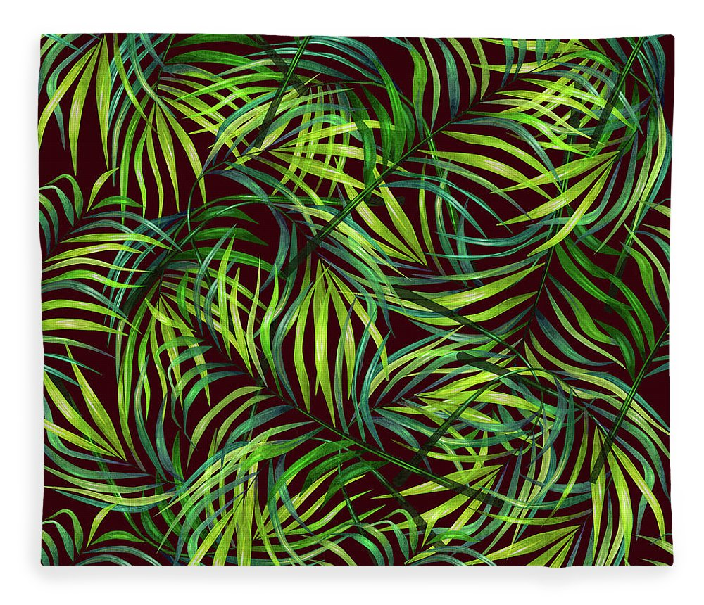 Palm Fleece Blanket featuring the mixed media Palm Leaf Pattern 2 - Tropical Leaf Pattern - Green, Black - Tropical, Botanical Pattern Design by Studio Grafiikka
