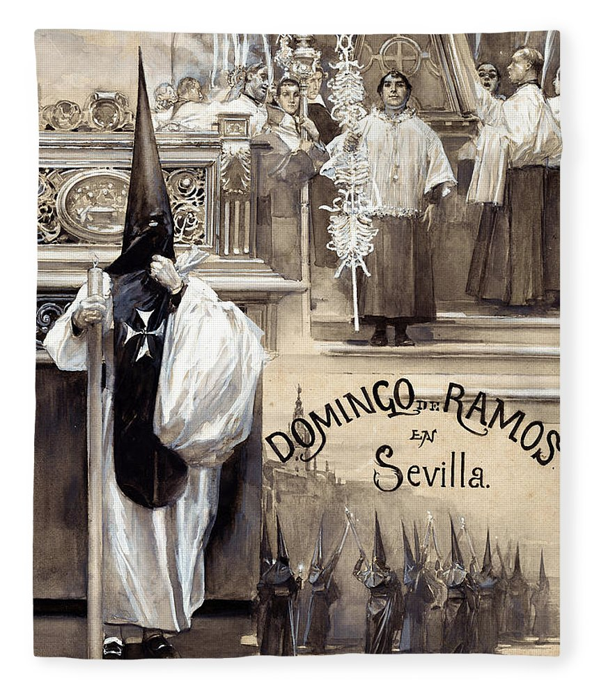 Jose Garcia Ramos Fleece Blanket featuring the painting Palm Sunday In Seville by Jose Garcia Ramos
