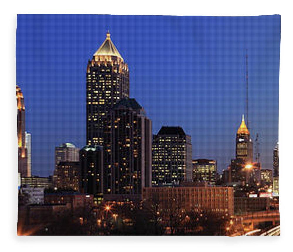 Atlanta Fleece Blanket featuring the photograph Panorama Of Atlanta, Georgia by Jumper