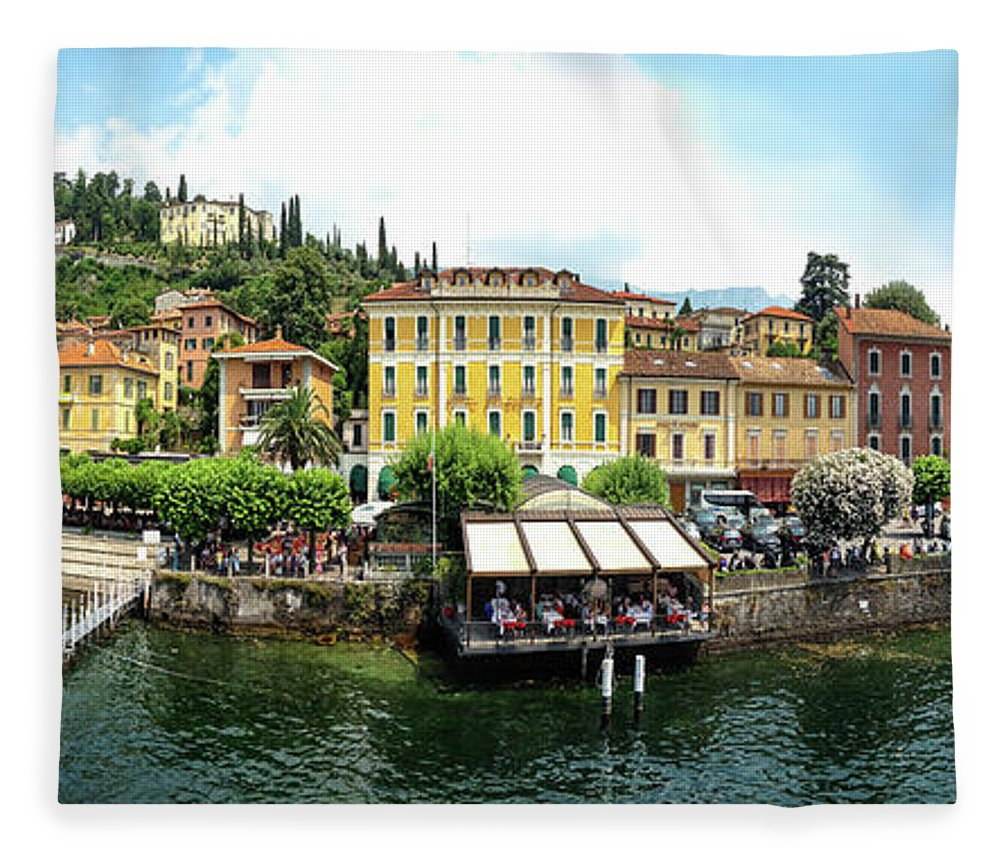 Tranquility Fleece Blanket featuring the photograph Panorama Of Bellagio From Lake Como by Melinda Moore