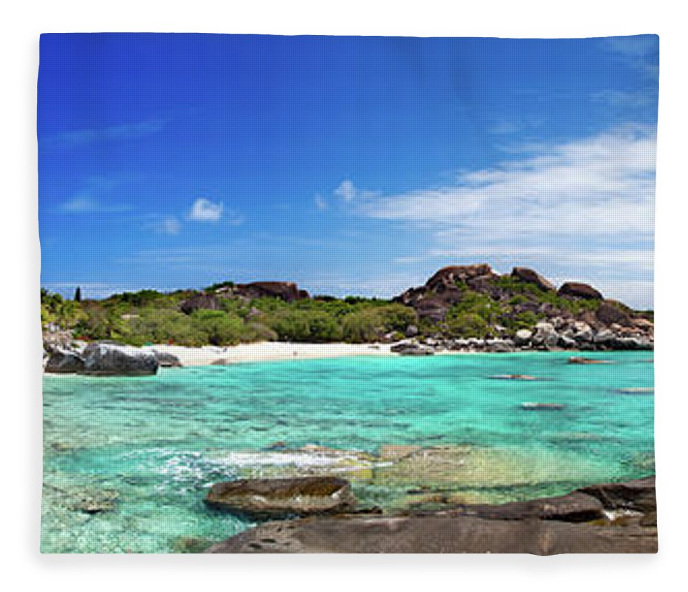 Scenics Fleece Blanket featuring the photograph Panorama Of Spring Bay And The Baths by Cdwheatley