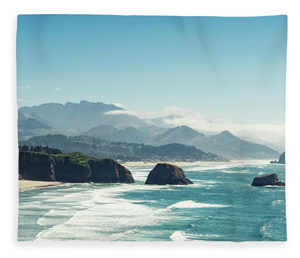 Scenics Fleece Blanket featuring the photograph Panoramic Shot Of Cannon Beach, Oregon by Kativ