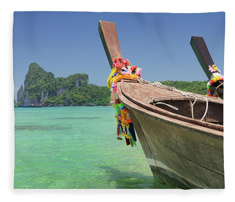 Tropical Rainforest Fleece Blanket featuring the photograph Paradise Tropical Beach With Longtail by 4fr