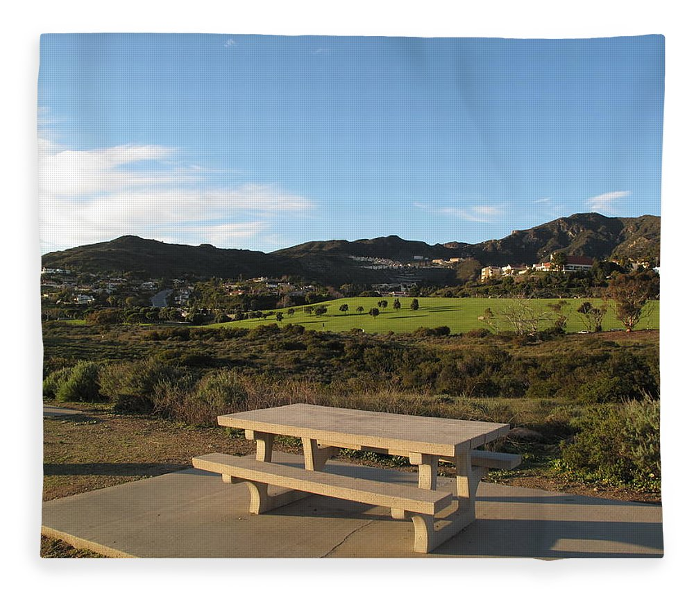 Tranquility Fleece Blanket featuring the photograph Park Bench In Malibu by Marianna Sulic