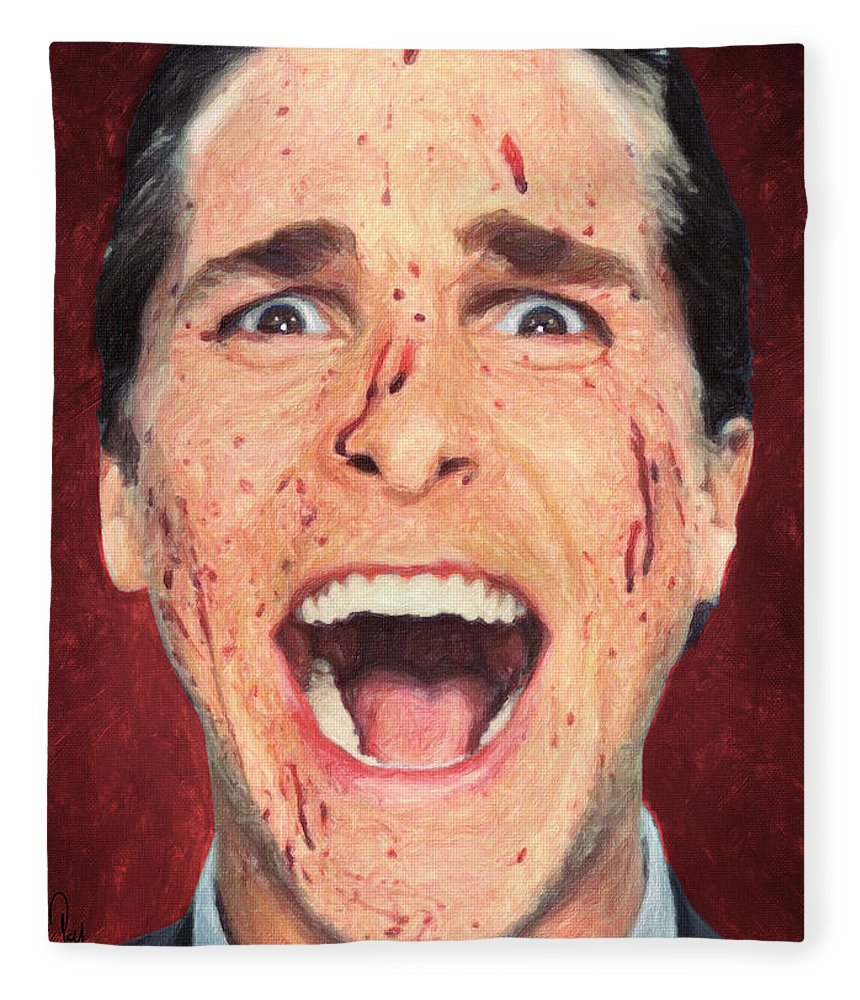Patrick Bateman Fleece Blanket featuring the painting Patrick Bateman by Zapista Zapista