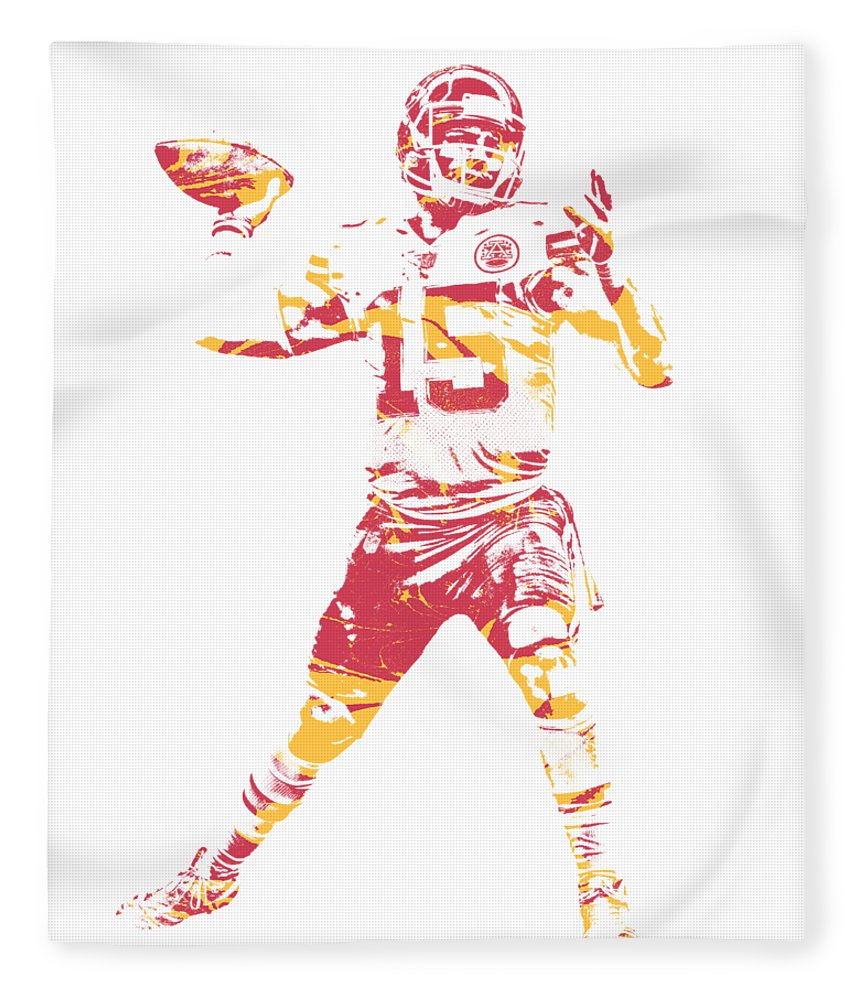 Patrick Mahomes Chiefs Fleece Blanket featuring the mixed media Patrick Mahomes Kansas City Chiefs Apparel T Shirt Pixel Art 1 by Joe Hamilton