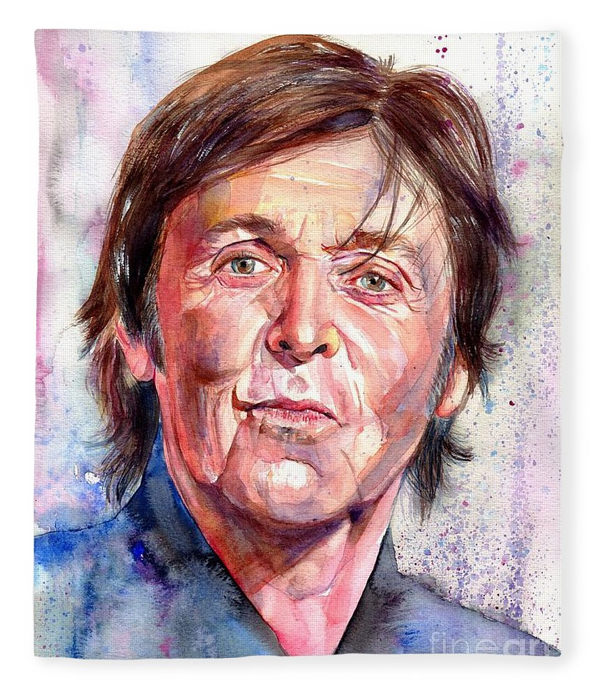Paul Fleece Blanket featuring the painting Paul McCartney Watercolor by Suzann Sines