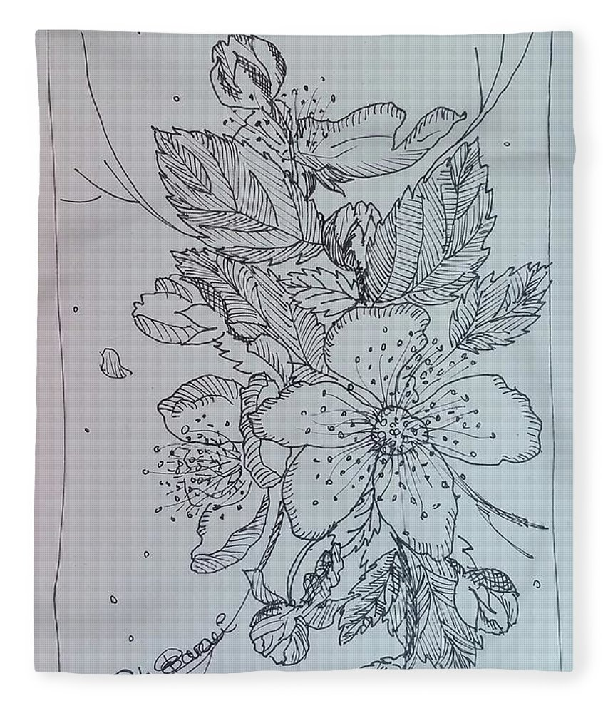 Fleece Blanket featuring the drawing Peach Flowers by Paola Baroni