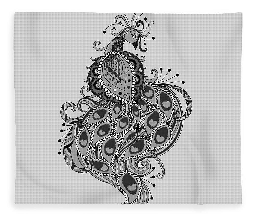 Blue Fleece Blanket featuring the digital art Peacock 10 by Charleen Treasures