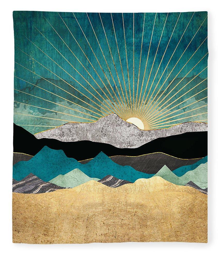 Blue Fleece Blanket featuring the digital art Peacock Vista by Spacefrog Designs