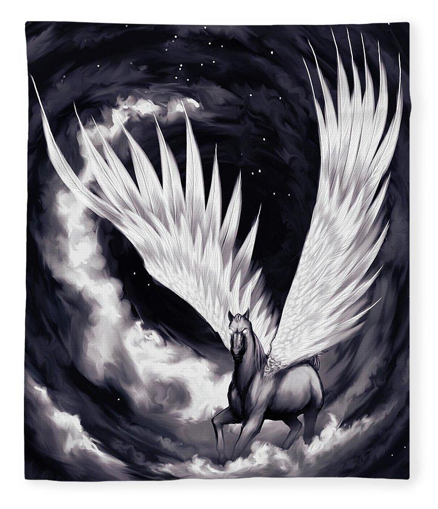 Pegasus Fleece Blanket featuring the painting Pegasus by Sami Matilainen