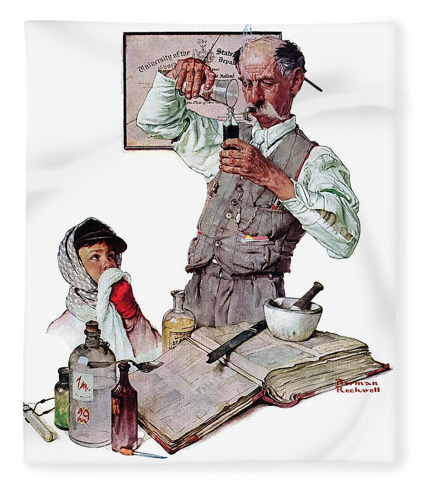 Boy Fleece Blanket featuring the drawing Pharmacist by Norman Rockwell