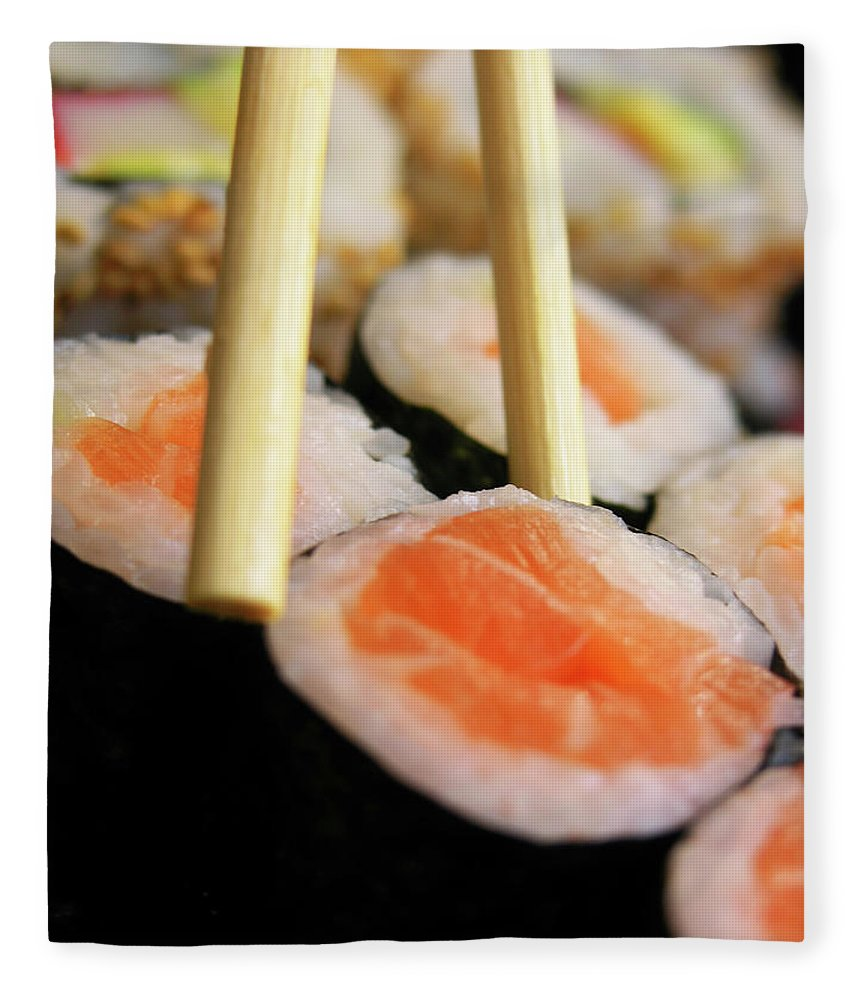 Japanese Food Fleece Blanket featuring the photograph Picking Some Sushi by Caracterdesign
