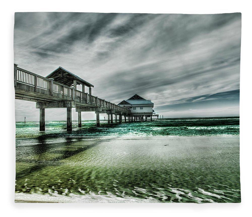 Water's Edge Fleece Blanket featuring the photograph Pier by Chumbley Photography