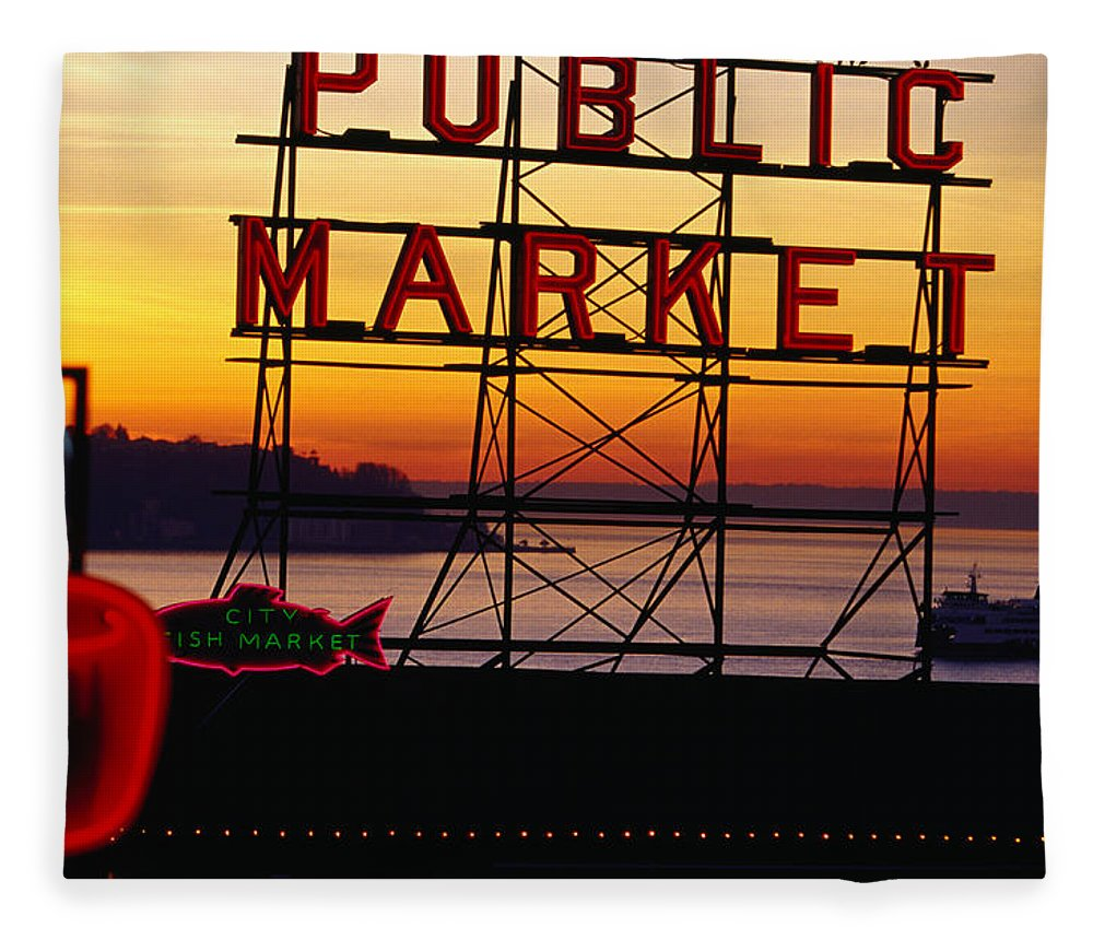 Ferry Fleece Blanket featuring the photograph Pike Place Market Sign, Seattle by Lonely Planet