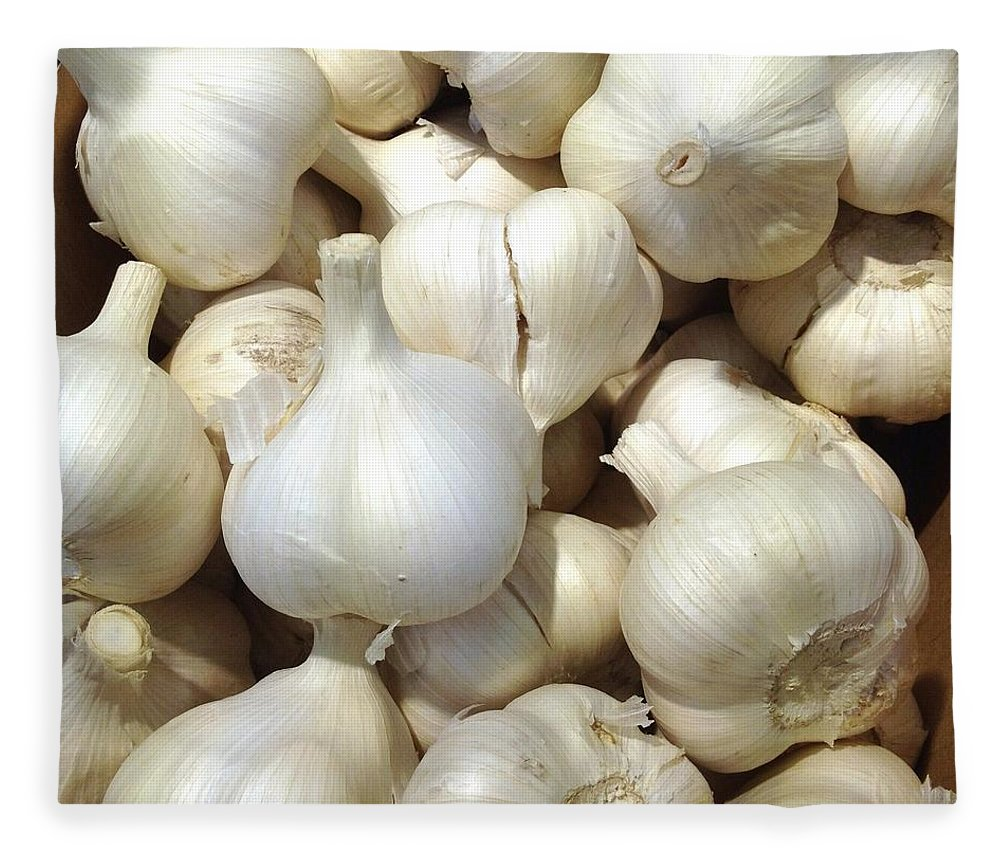 Heap Fleece Blanket featuring the photograph Pile Of Garlic by Digipub