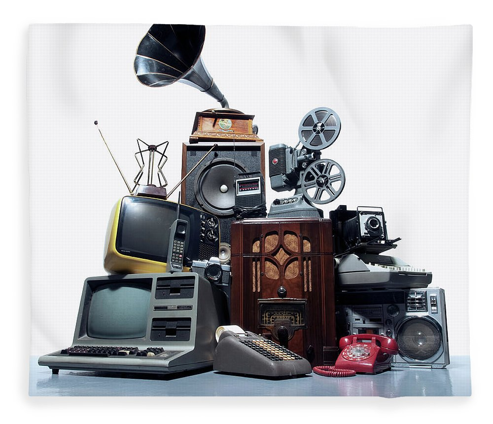 White Background Fleece Blanket featuring the photograph Pile Of Old Technology by Pm Images