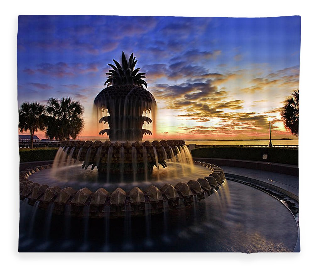 Tranquility Fleece Blanket featuring the photograph Pineapple Fountain In Charleston by Sam Antonio Photography