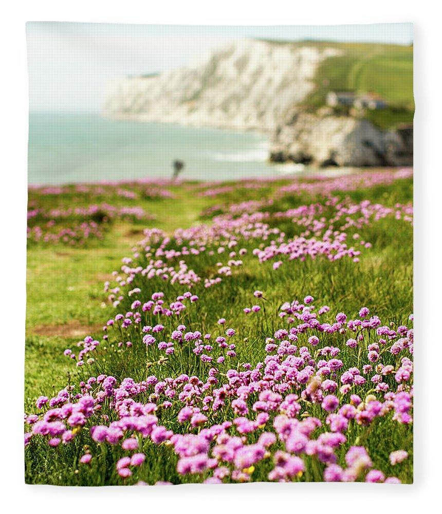 Scenics Fleece Blanket featuring the photograph Pink Coastal Path by S0ulsurfing - Jason Swain
