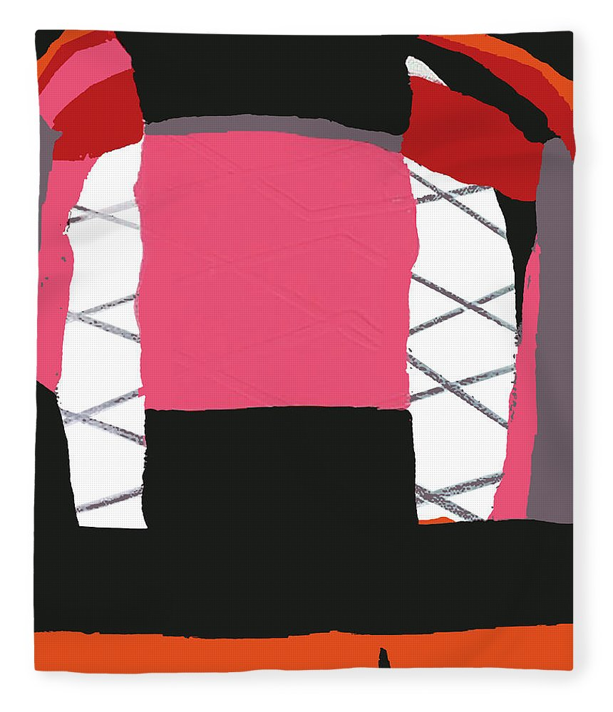 Print Fleece Blanket featuring the painting Pink Orange by Yifat Gat