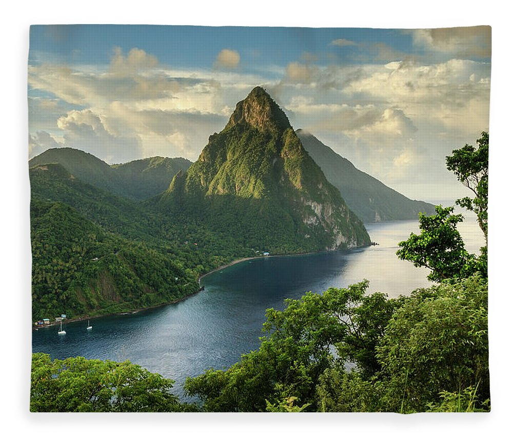 Nature Fleece Blanket featuring the photograph Piton View - Saint Lucia by Paul Baggaley