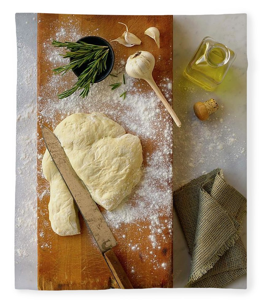Cutting Board Fleece Blanket featuring the photograph Pizza Dough And Ingredients On Cutting by Brian Macdonald