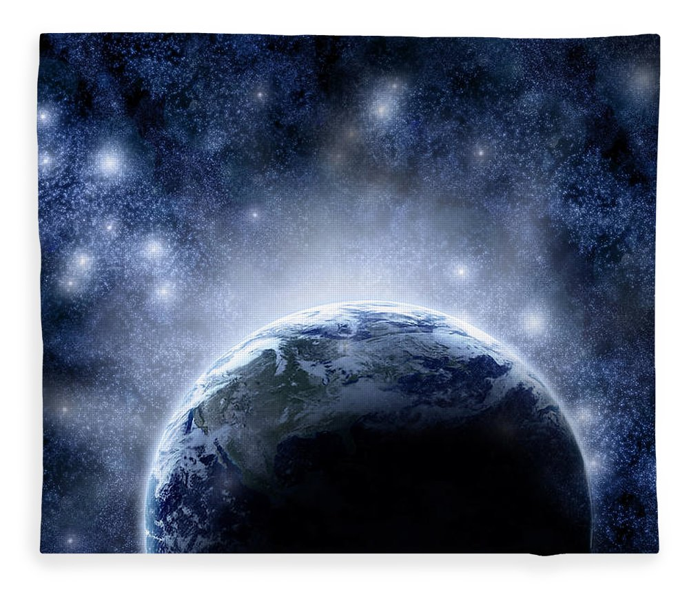 Outdoors Fleece Blanket featuring the digital art Planet Earth And Stars by Nicholas Monu