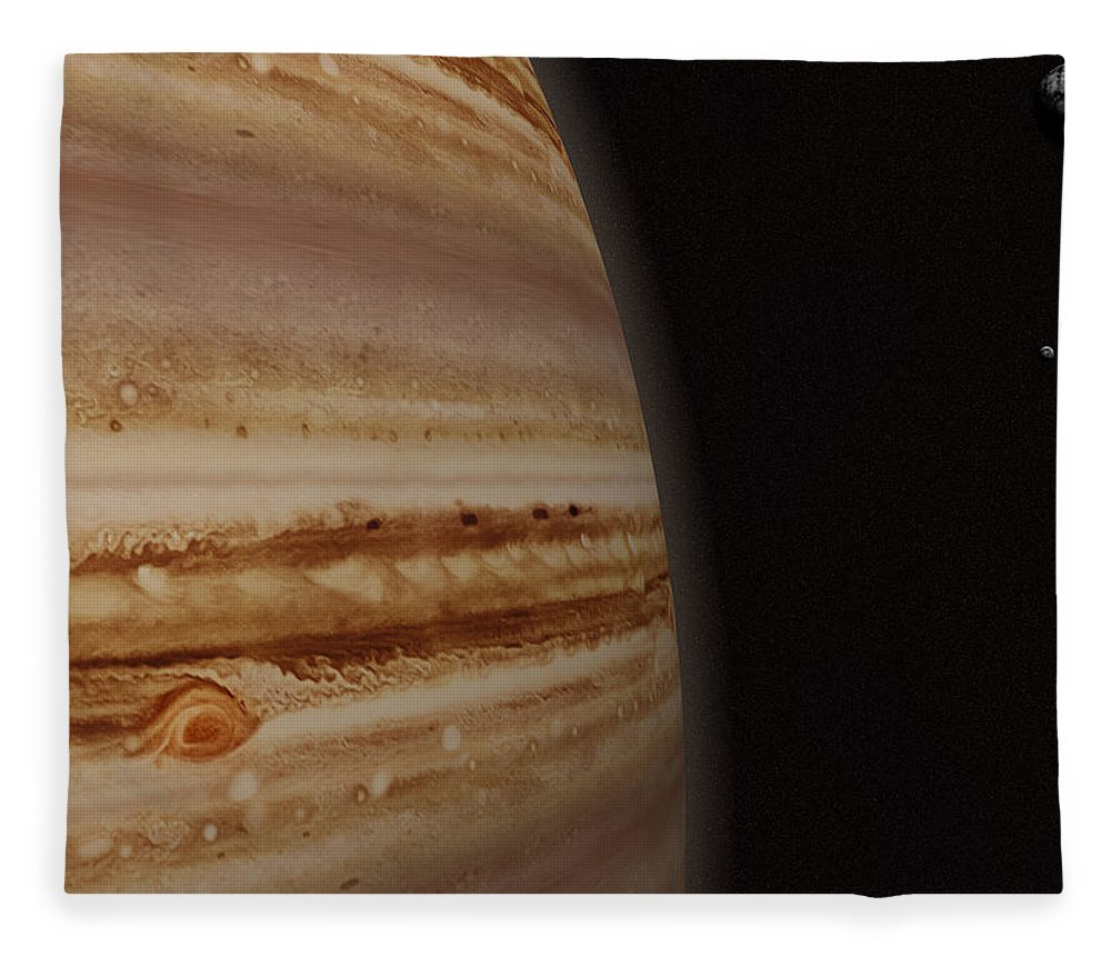 Black Color Fleece Blanket featuring the photograph Planet Jupiter And A Distant Moon by Jason Reed