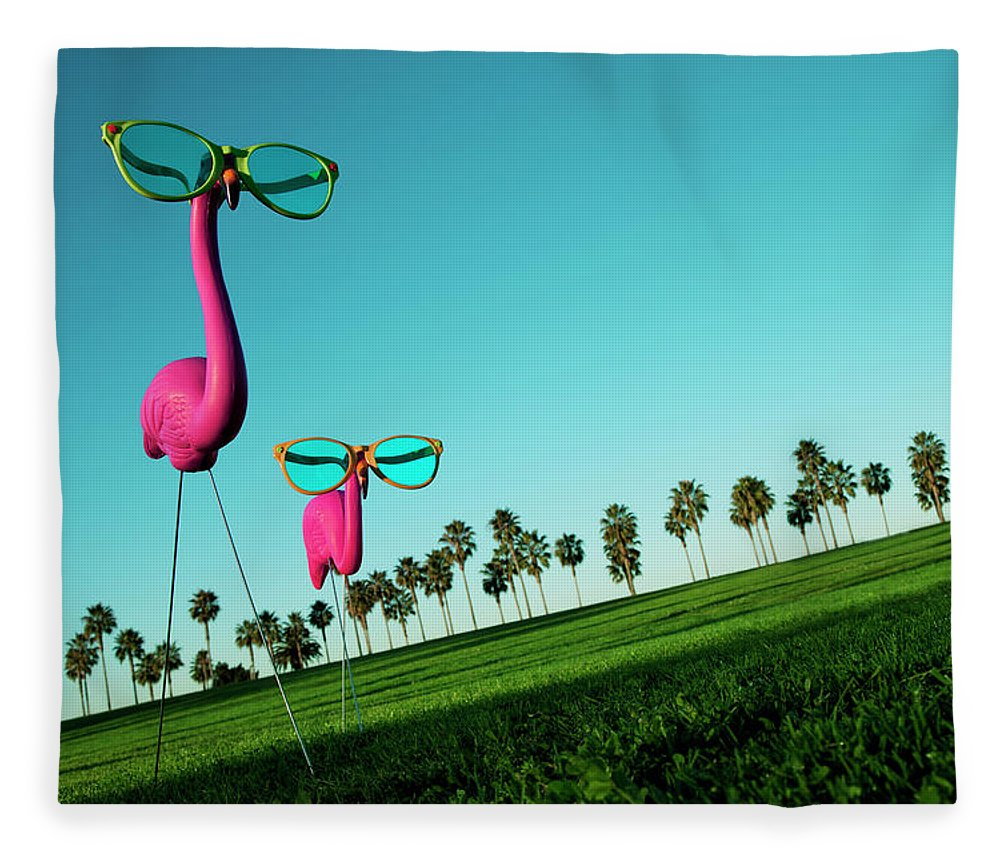 Artificial Fleece Blanket featuring the photograph Plastic Pink Flamingos On A Green Lawn by Skodonnell